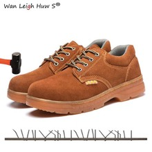 купить Mens Safety Work Shoes Men Steel Toe Cap Boots Genuine Leather Breathable Labor Insurance Beef Tendon Puncture Proof Casual Boot дешево