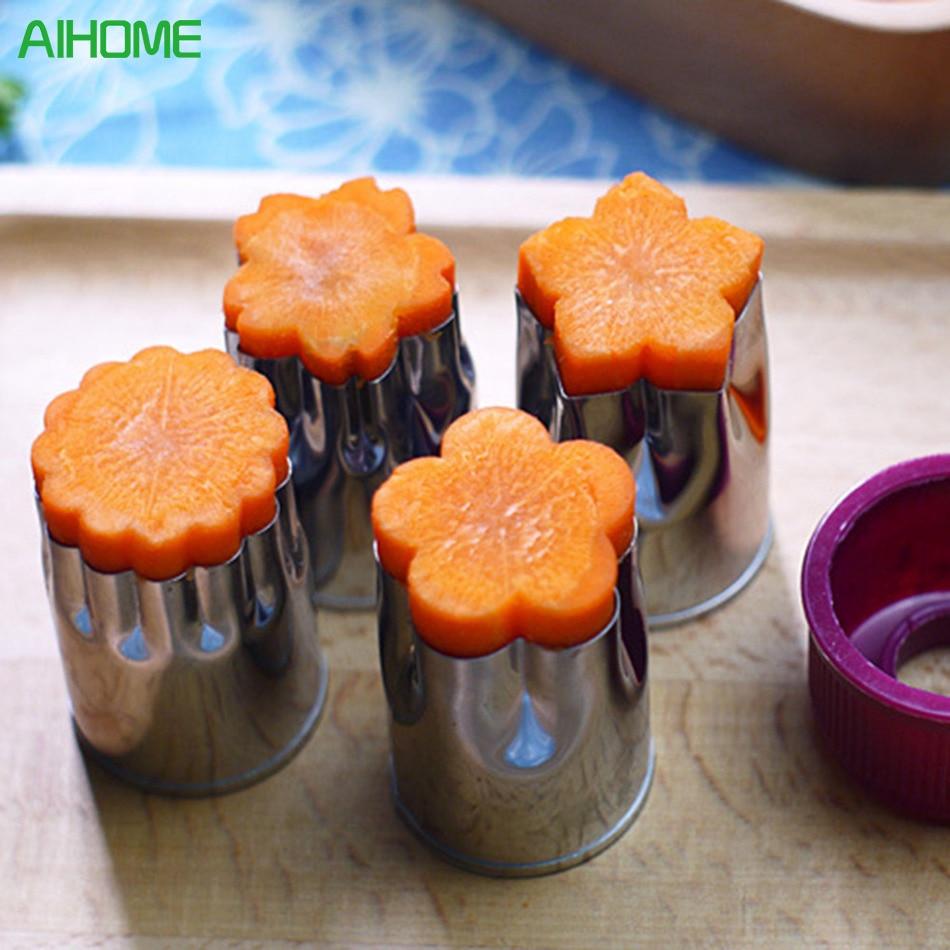 8pcs/Set Flower Star Shape Vegetable Fruit Cutter Mold Slicer Stainless Steel Shredder For Cake Cookie Sushi Biscuit Food