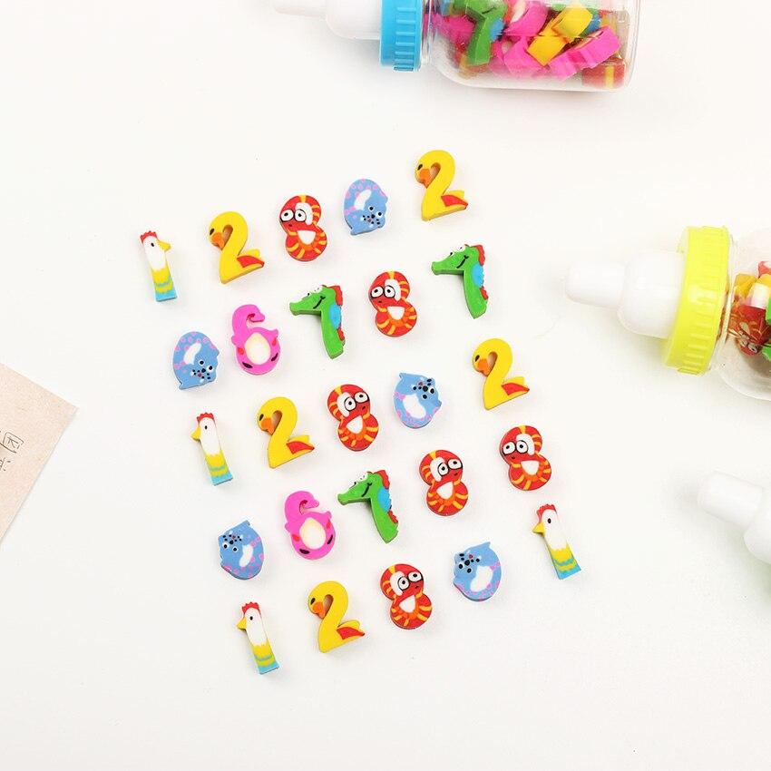 Купить с кэшбэком 20PCS/Lot Korean Stationery Novelty Cartoon Digital Animals Cute Erasers Pencil Kawaii Eraser School Supplies Pencil Eraser
