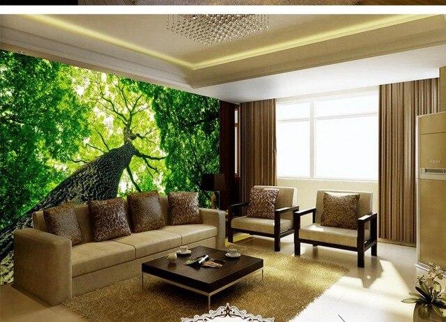 Boom In Woonkamer : 3d behang natuur bos landschap boom uitziende up 3d behang tv