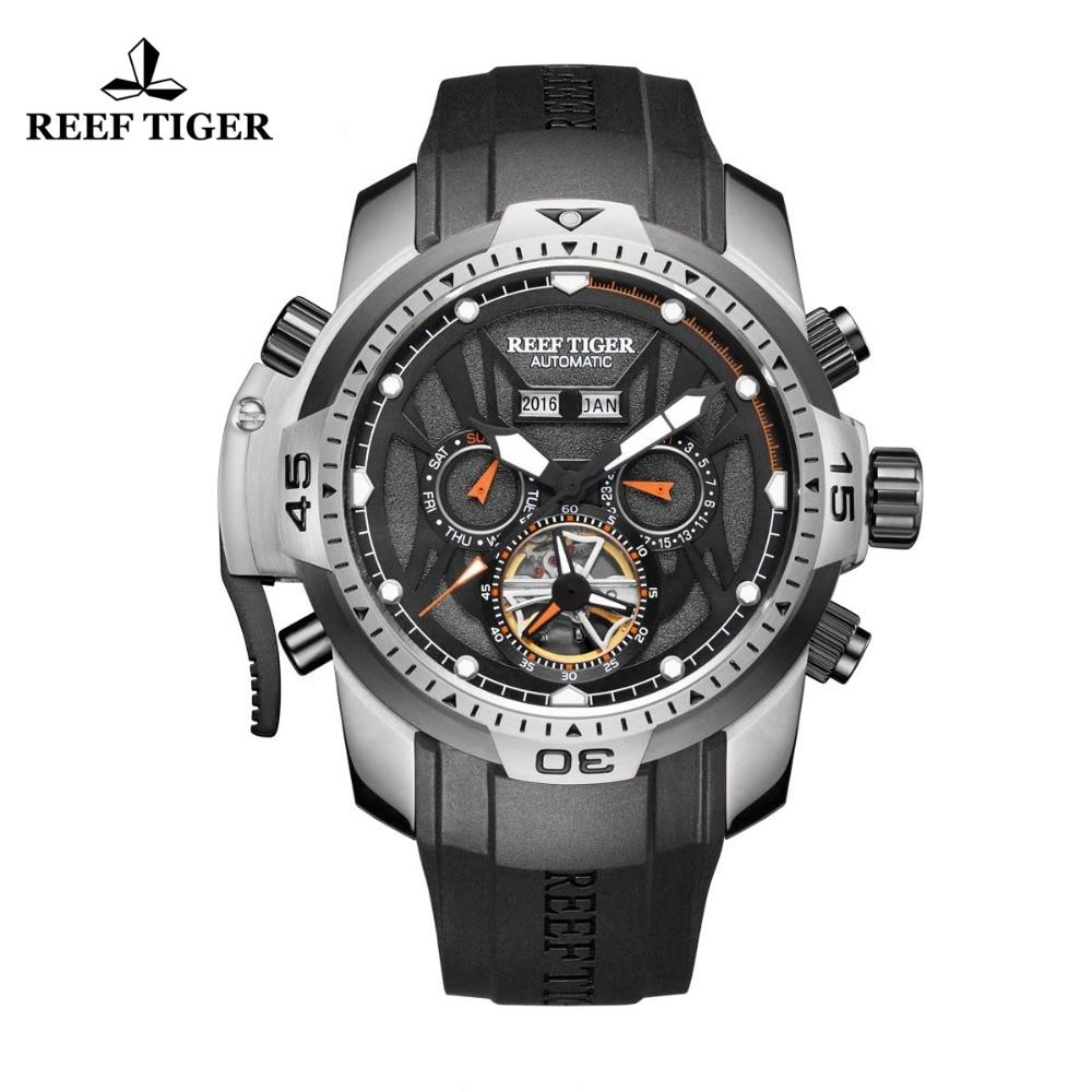 Риф Тигр/RT спортивные часы сложная циферблат с год месяц вечный календари большой сталь случае часы RGA3532