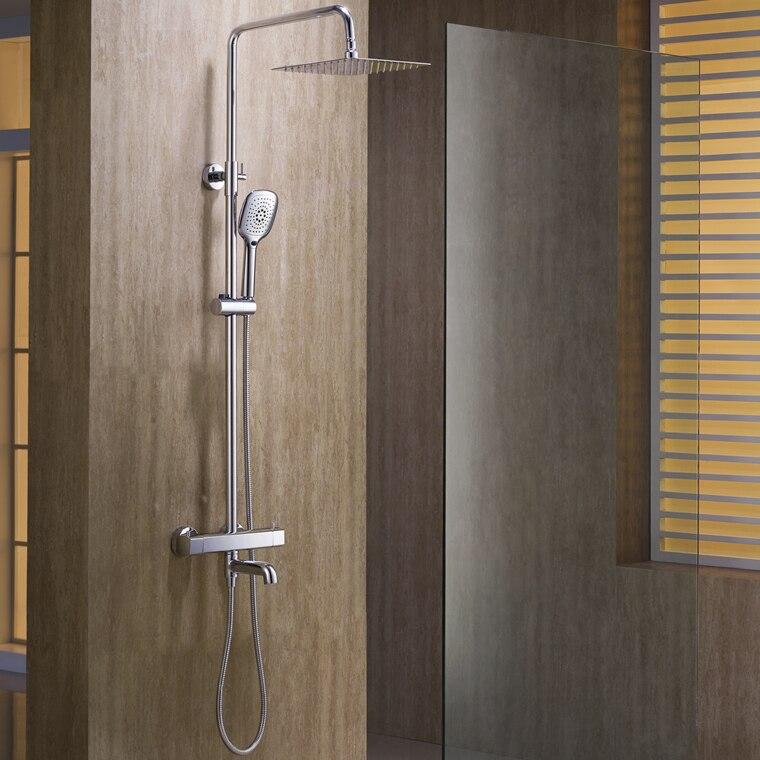 L15186-pommeau de douche en laiton mural de luxe avec robinet thermostatique barre de Rail de douche