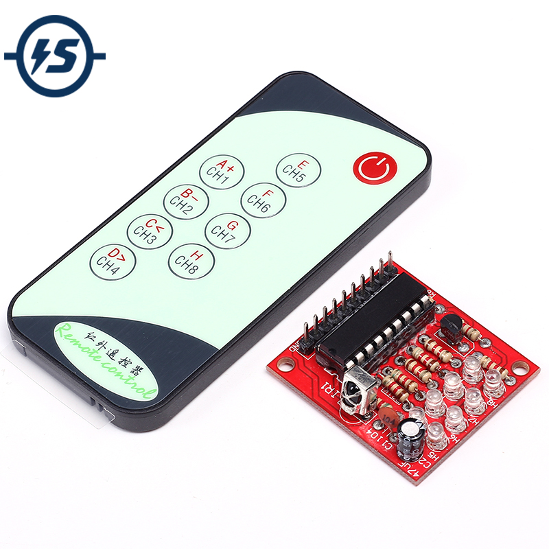 8 Channel IR Infrared <font><b>Receiver</b></font> Board Delay Relay Driving <font><b>Module</b></font> + 9 <font><b>Keys</b></font> <font><b>Remote</b></font> Control Transmitter Self-Locking Controller 3-5V image