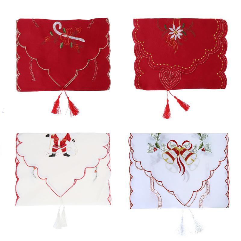 navidad santa claus bordado moda camino de mesa de encaje floral cubiertas a prueba de polvo