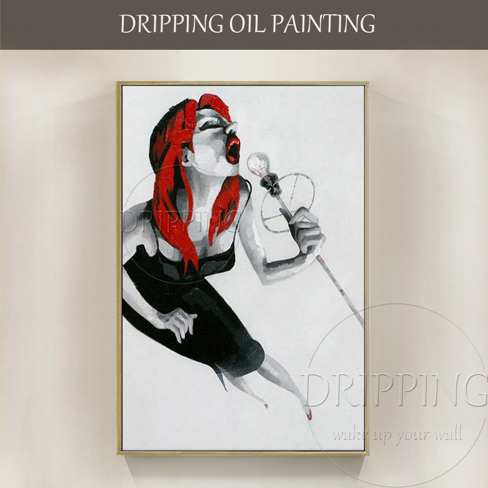Artist Hand painted High Quality Modern Wall Art Abstract Singer Oil Painting for Living Room Red Lip Sexy Singer Oil Painting