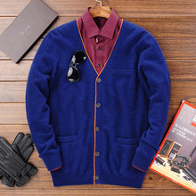 2017 Winter Warm Knitted Cashmere Cardigan Men Christmas Merino Woolen Sweater Men Casual Pure Color V-Neck Cardigans Coat