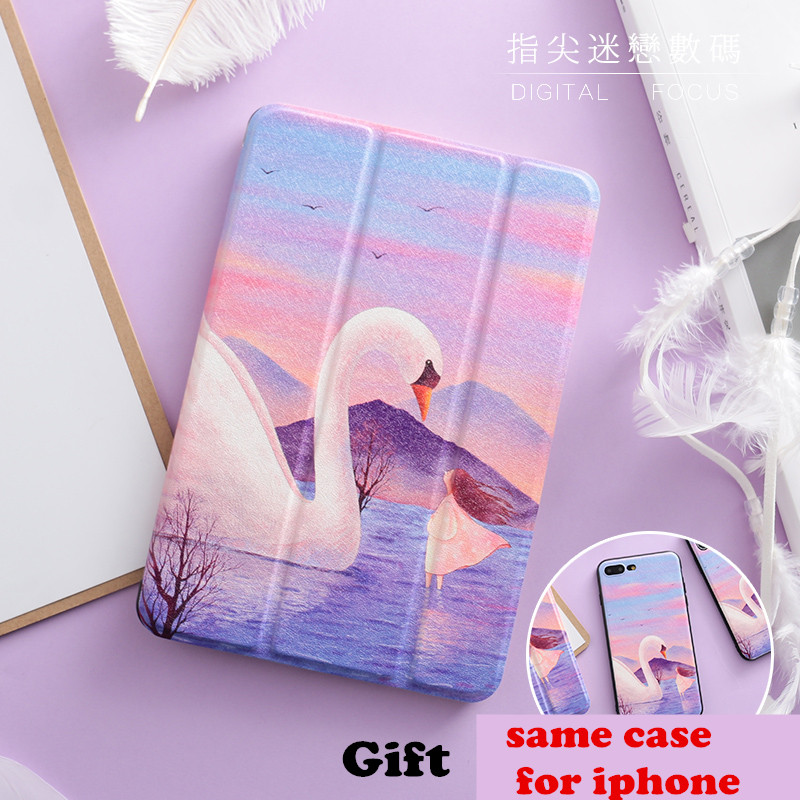 Cute Swan Magnet PU Leather Case Flip Cover For iPad Pro 9.7 10.5 Air Air2 Mini 1 2 3 4 Tablet Case For New ipad 9.7 2017 IPAD4 jialong mini 4 smart pu leather case for apple ipad mini 4 7 9 tablet flip cover soft tpu back cover cute little girl yao