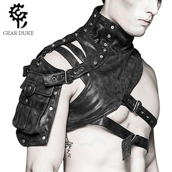 Gear Duke 2018 Rivet Men's Armor Shoulder Bag Steampunk PU Leather Bag Gothic Design Women's Moto & Arm Bag Men Motorcycle Bags