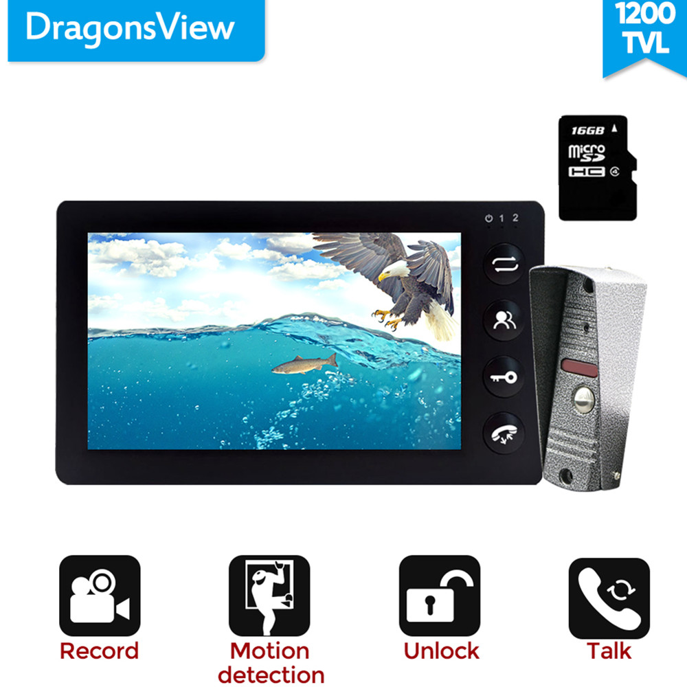 Dragonsview 7 Inch Video Intercom Video Door Phone Doorbell Intercom Recording Function 16GB SD Card Motion Alarm 1200TVL Unlock