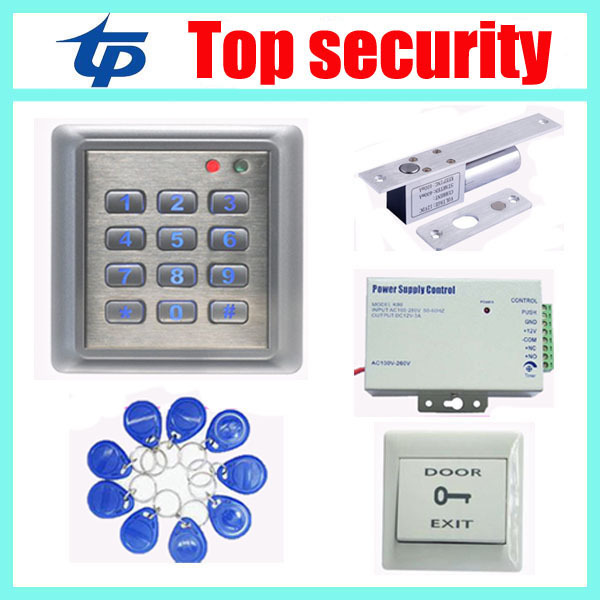 Free shipping RFID card proximity card access control+power supply+electric lock+PC exit button+10pcs RFID key access control systems proximity card waterproof standalone access control power supply magnetic lock exit button 10pcs rfid key