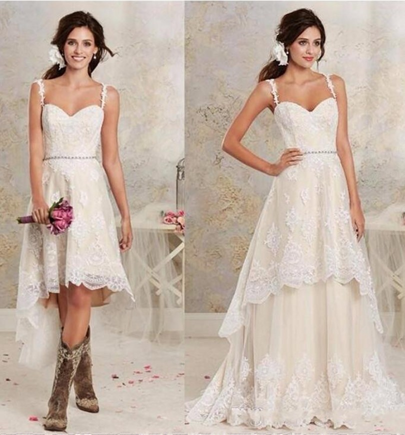ANTI Detachable Lace Country Wedding Dresses Spaghetti High Low Bride Bridal Gown Vestido De Noiva Casamento Robe De Marriage 4