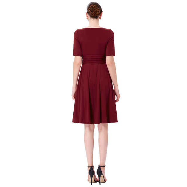 Women Casual Dress Summer 2017 Retro Vintage V Neck Ladies Tunic Short Sleeve Wear to Work Plus Size Sexy OL Office Dresses