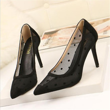 2019 New Fine with Heel Sexy Cut-Outs Solid Lace Women Pumps Pointed Toe Shallow