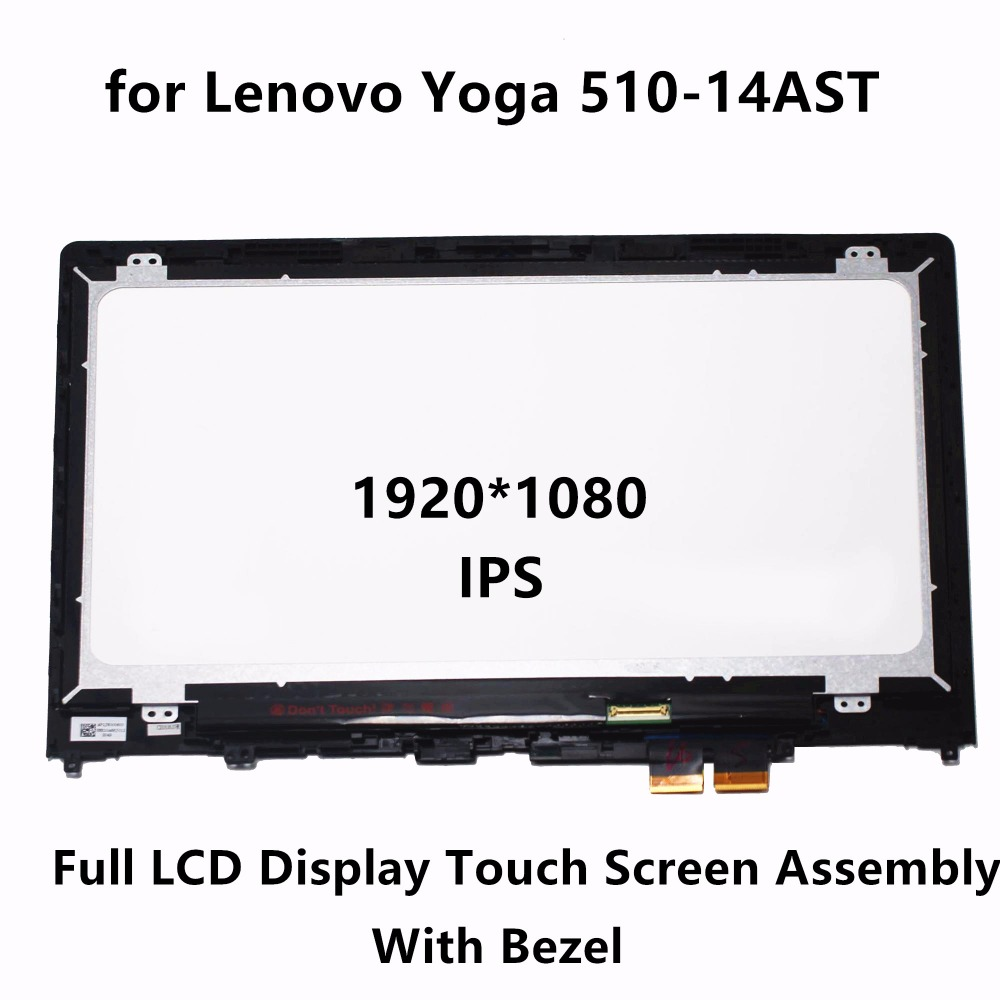 14 FHD IPS LCD Screen Display Touch Panel Glass Digitizer Assembly + Bezel for Lenovo Yoga 510-14AST 80S9 80S90018GE 80S9000WGE grassroot 14 0 inch lcd touch screen digitizer bezel display assembly for lenove yoga 460 fhd ips lcd screen with frame