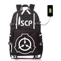 SCP Special Containment Procedures Foundation USB Backpack Bag Luminous Student Bookbag Rucksack Student Schoolbag Bag Travel