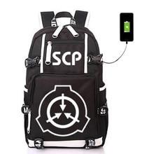 SCP Special Containt Procedures Foundation USB Backpack Bag Luminous Student Bookbag Rucksack Student Schoolbag Bag Travel