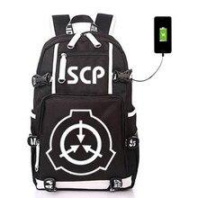 SCP خاص إجراءات الاحتواء الأساس USB حقيبة الظهر مضيئة طالب حقيبة الكتب حقيبة الطالب المدرسية حقيبة السفر