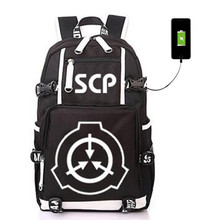 SCP specjalne Containt procedur fundacja plecak z USB torba świecenia uczeń Bookbag plecak uczeń tornister torba podróżna