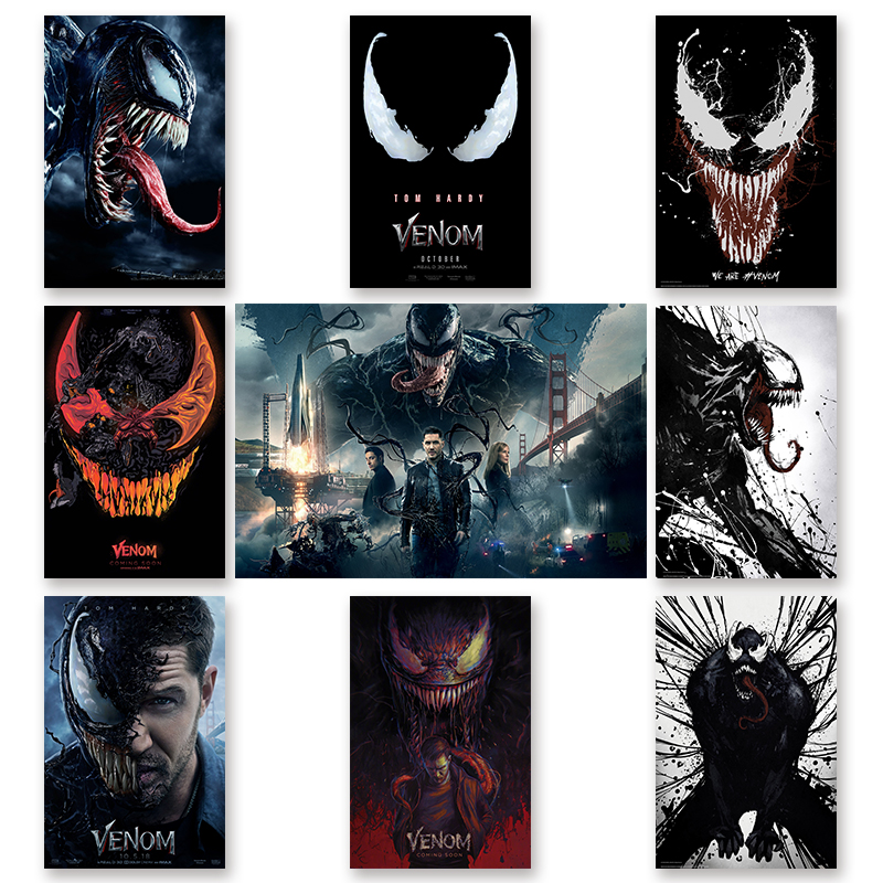 Venom Movie Tom Hardy Marvel New 2018 Poster Comics Hero Silk Posters and Prints Wall Art Picture for Living Room Home Decor