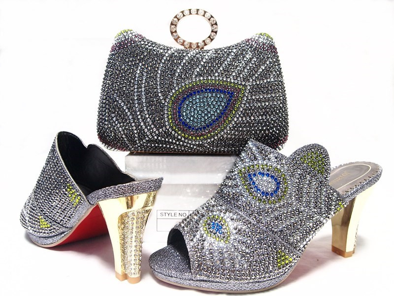 ФОТО Gray Shoes and Bag Set with Rhinestone Summer African Style Shoe and Bag Set Italy High Quality Matching Shoes and Bag  JA10-6