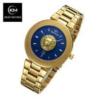 Лев Голова часы Женщина розовое золото часы держать перемещение для женщин топ известный бренд класса люкс повседневное кварцевые часы ...