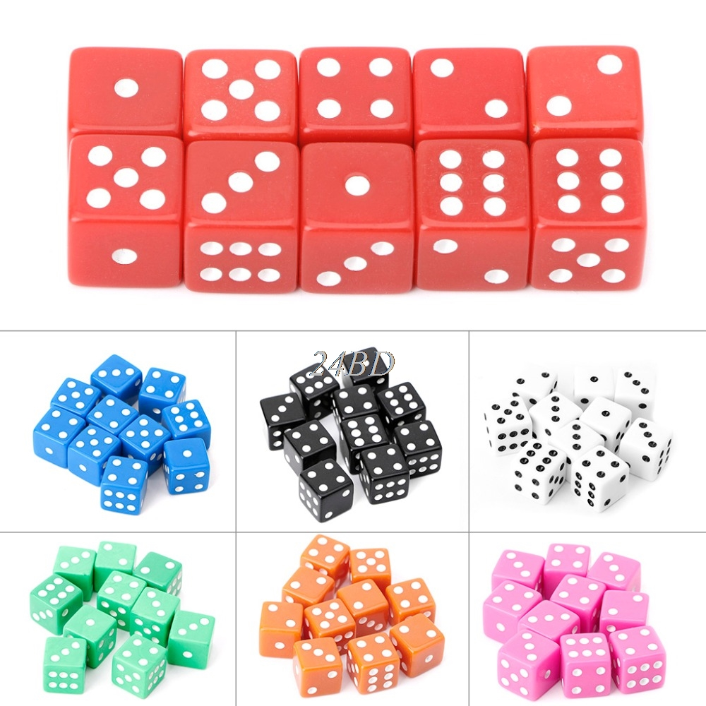 15mm Multicolor Acrylic Cube Dice Beads Six Sides Portable Table Games 10 PCS/SET Toy A27
