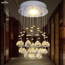 Современный Небольшой Кристалл СВЕТОДИОДНЫЕ Потолочные Светильники Лампы Посыльного Коридор Светильник Для Спальни Dia 20 см Золото Зеленый Синий Свет