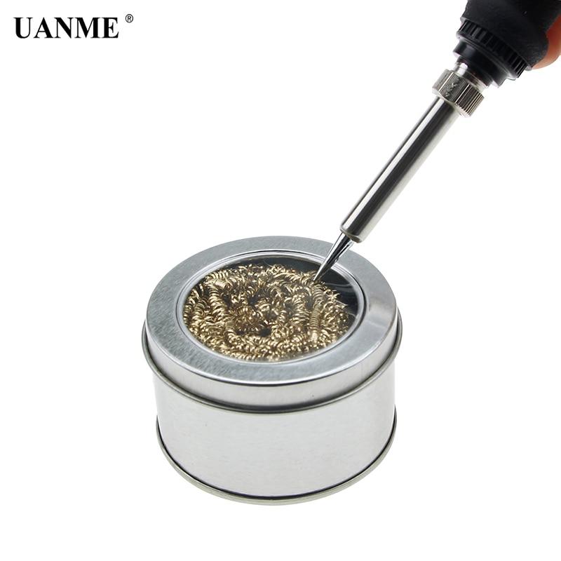 Uanme profissional 1 pc ponta de ferro de solda mais limpo estanho limpeza fio aço escova ferramenta reparo bola bga ferramentas com caixa