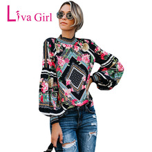 LIVA GIRL Bohemian Floral Print Blouses and Tops Gothic Women Long Sleeve Turtleneck Pullover 2019 Spring Smocked Camisas Mujer two tone smocked floral print dress