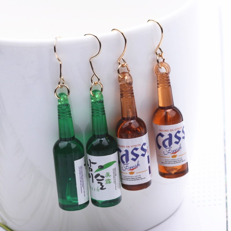 EK442 European Personality Punk Beer Bottle Drop Earrings for Women Jewelry boucle Brincos Irregular Dangle Earing Pendientes