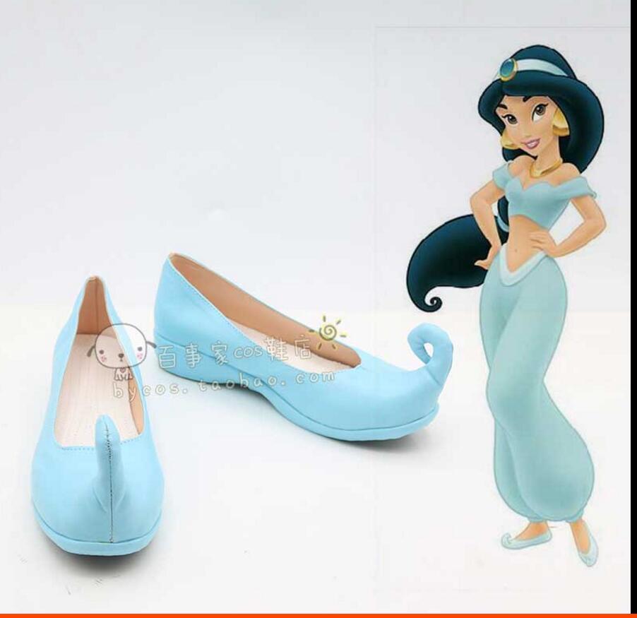 anime Aladdin Lamp Princess Jasmine Costume yellow dress Halloween Cosplay costume womens party lolita blue Boots shoes
