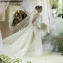 DYYMYH&MJPGHBT Long Sleeve Detachable Train Wedding Dresses
