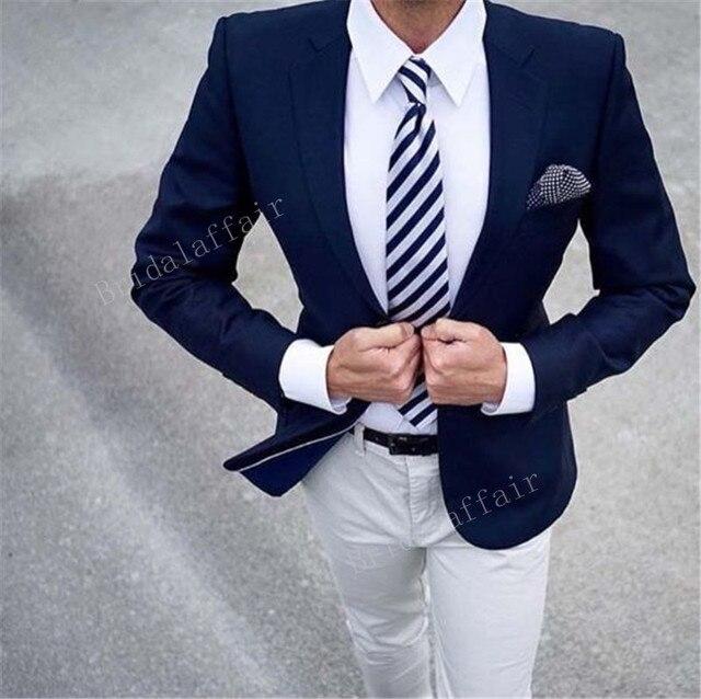 db694d243bd5 Gwenhwyfar Custom Made Navy Blue Blazer White Pants Men s Wedding Groom Prom  Business 2 Piece Suit Pants Slim fit Tuxedo Jacket