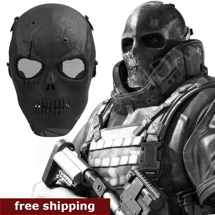 Prix pour Crâne Squelette Airsoft Paintball Gun BB Plein Visage Protéger Masque Coup Casques Mousse rembourré à l'intérieur Noir visière Pleine Couverture