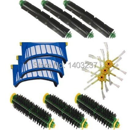 Bristle Brush Flexible Beater Brush 6-armed Side Brush Aero Vac Filter Kit for iRobot Roomba 500 Series 536 550 551 552 564 aero vac filter bristle brush flexible beater brush 3 armed side brush tool for irobot roomba 600 series 620 630 650 660