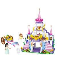 Girls Princess Castle Violet Royal Carriag Car Building Blocks Sets Legoings Friends Model Bricks Kids Toys Gift