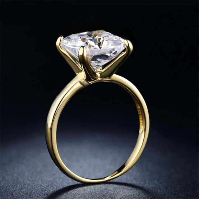 Simple Bridal Wedding Ring Gold Color Large White Cubic Zirconia Square Engagement For Women Accessories