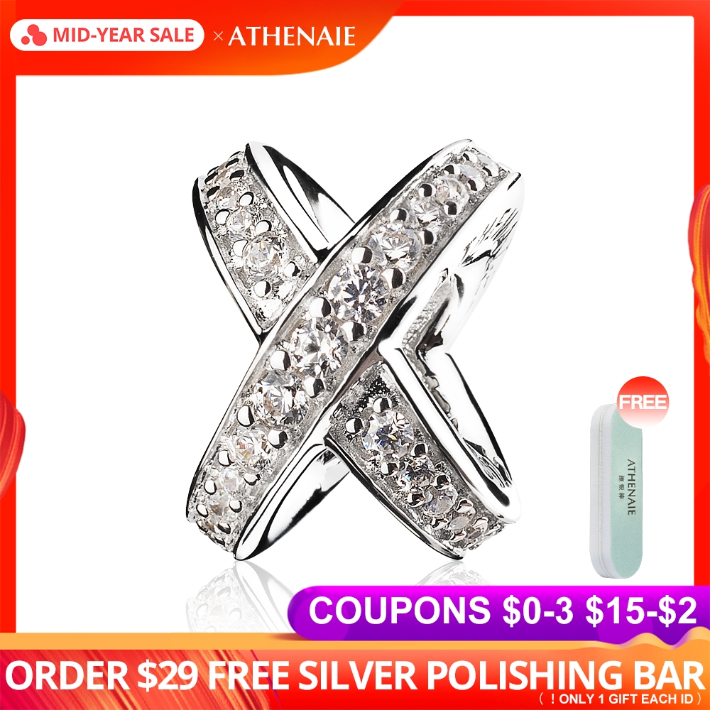 ATHENAIE 925 Sterling Silver with Clear CZ Galaxy Cross Ring Bead Charms for Bracelet