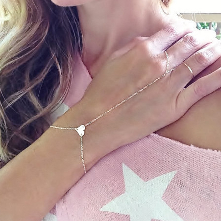 Simple Fashion Gold Chain Bracelets Heart Slave Finger Hand Harness Bracelets & Bangels 2B212
