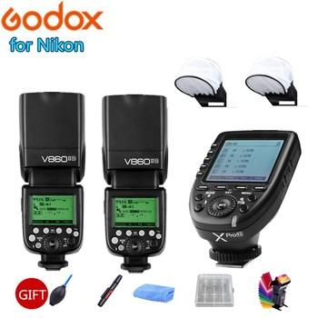 2x Godox V860IIN HSS TTL Flash 1/8000S 2.4G Speedlight Li-on Battery + Xpro-N Trigger for Nikon D7200 D7100 D7000 D5500 D5300