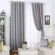 Curtains Blackout Geometric Blind Jacquard Thread Curtain Country Retric Panel Drapes Striped Window Treatments Roman Shades