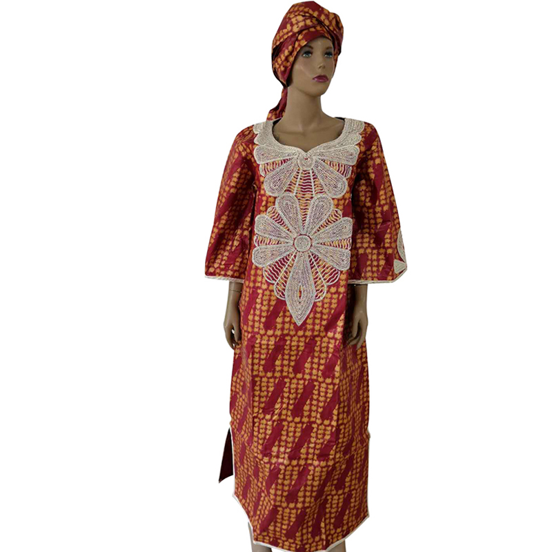 Купить с кэшбэком MD Plus Size african women dashiki dress traditional african clothing for women Embroidery bazin riche dresses Nigerian head tie