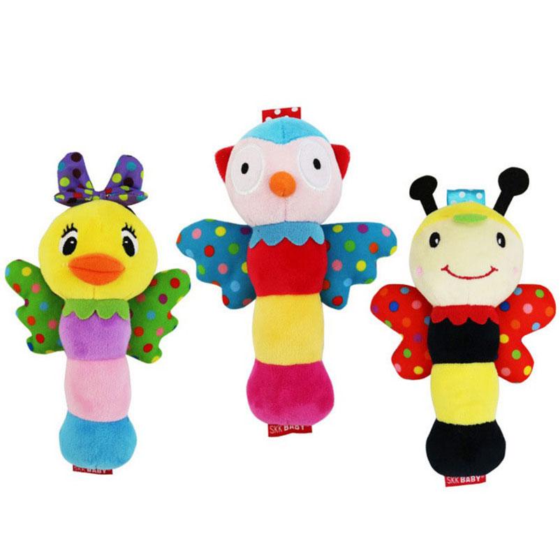 18 Cm Hand Glocke Spielzeug Baby Infant Niedliche Cartoon-tier Hand Erfassen Flügel Plüsch Rassel Spielzeug Früherziehung Spielzeug Handy Straps