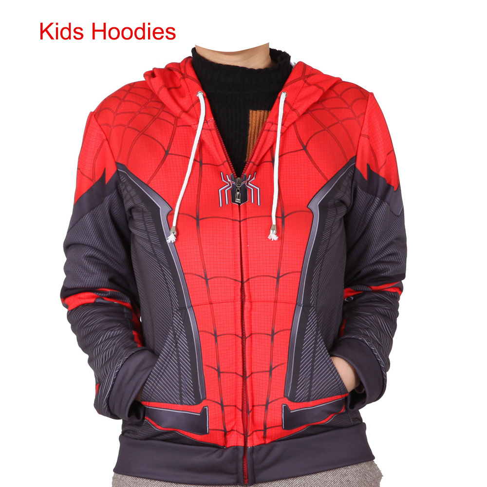 2019 Kids Spider-Man Far From Home Peter Parker Cosplay Costume Sweatshirt Hoodie Boys Girls Zip Jacket Ball Halloween Costumes