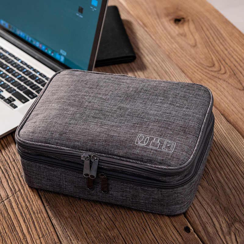 Novo Três-Camada Saco De Armazenamento Digital Cabo de Dados USB Fio do Fone de ouvido caneta banco do Poder HDD Kit de Viagem Portátil Organizador caso Bolsa