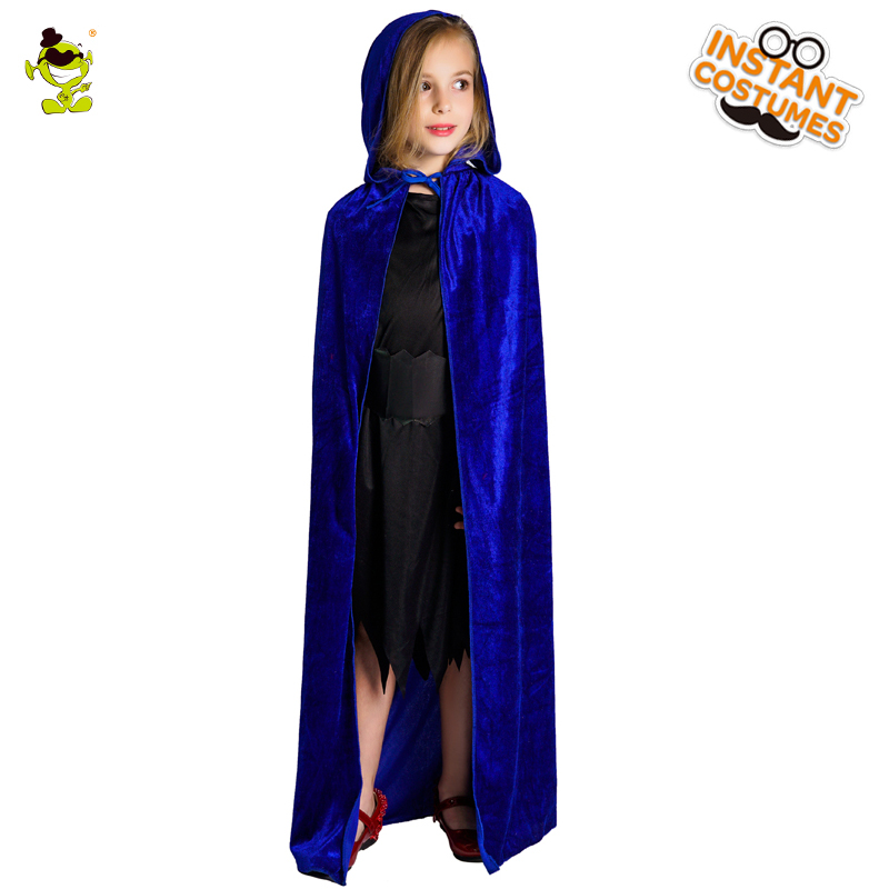 Girl Wizard Cape Costume Imitation Parties Cosplay Purple Color Hooded Cloak Kids Wizard Clothes -8631