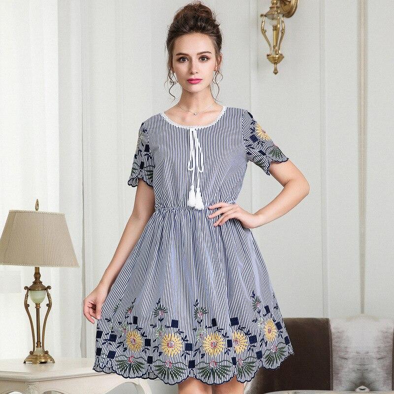 Mode d'été dames élégant broderie robe taille élastique juniors mignon rayure robe décontracté vestidos grande taille robe de soirée 5XL