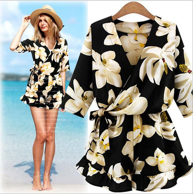 2017 new women casual summer beach bohemian vintage print short sleeve shorts jumpsuit playsuits rompers combinaison femme