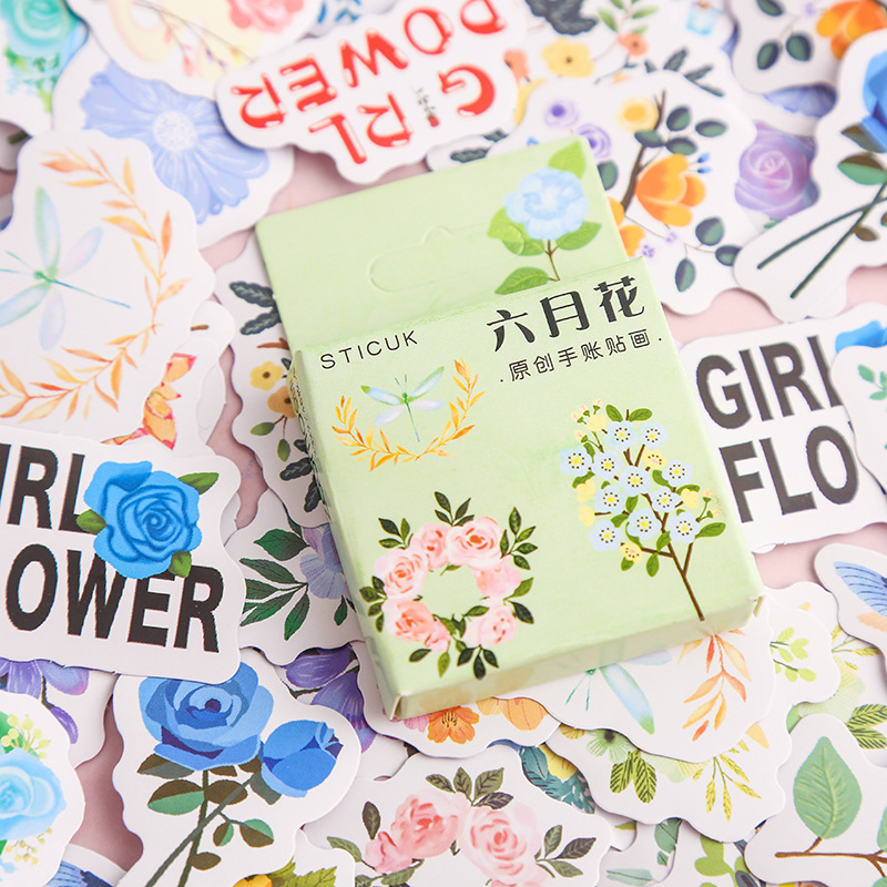 40 Pcs/pack Kawaii Alice Flower Paper Small Diary Mini Japanese Cute Box Stickers Set Scrapbooking Flakes Journal Stationery