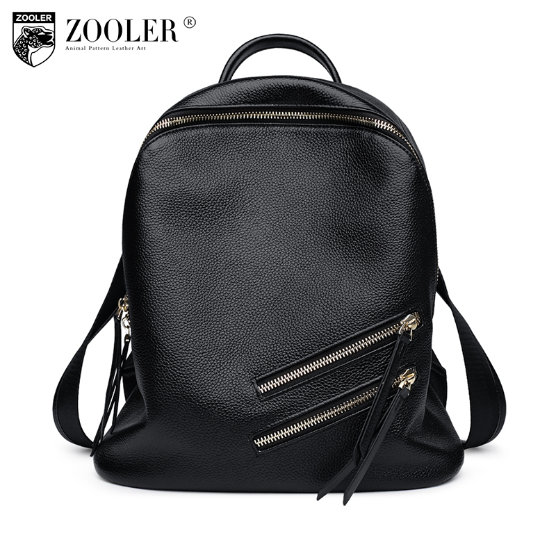 ZOOLER Women Backpack High Quality Black Genuine Leather Mochila Escolar School Bags for Teenagers Girls Top-handle Backpacks women vintage backpack high quality pu leather mochila escolar school bag for teenagers girls top handle casual large backpacks